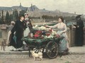 The Flower Seller on the Pont Royal with the Louvre beyond, Paris - Marie Francois Firmin-Girard