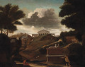 A classical Landscape with Figures by a Tomb, a Temple beyond - (after) Nicolas Poussin