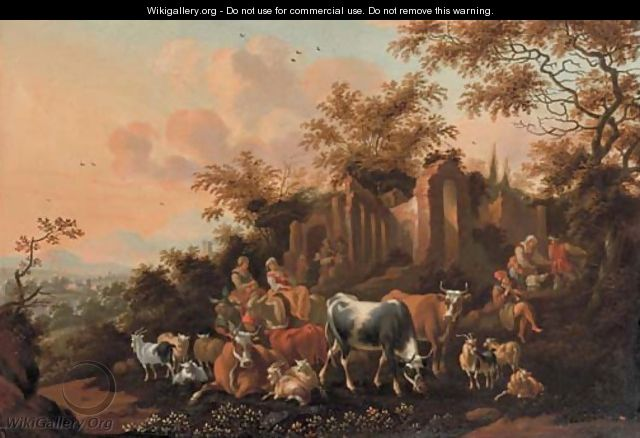 An Italianate landscape with peasants among cows, goats and sheep near a ruin - Nicolaes Berchem
