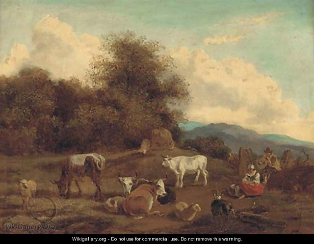 Cattle in a landscape - (after) Nicolaes Berchem