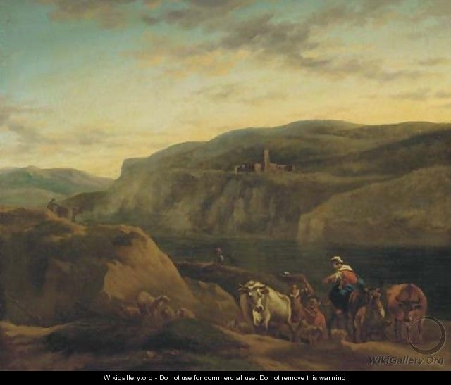 An Italianate landscape with shepherds and their flocks - (after) Nicolaes Berchem