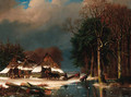 A winter landscape with loggers - Nicolaas Johannes Roosenboom