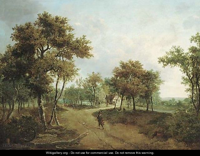 A wooded landscape with a cottage and figures on a path - Meindert Hobbema