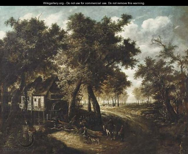 A wooded landscape with travellers approaching a watermill - (after) Meindert Hobbema