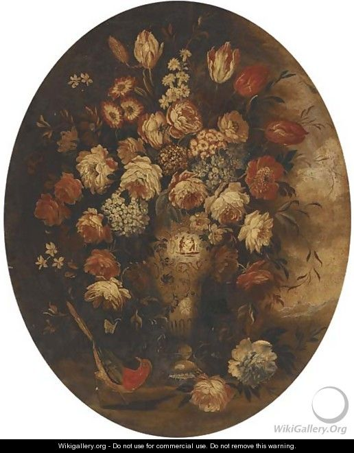 Roses, tulips and other mixed flowers in a chinese vase with a bird - (follower of) Nuzzi, Mario