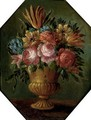 Parrot tulips, roses, chrysanthemums and other mixed flowers in an urn - (follower of) Nuzzi, Mario