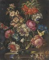 Mixed flowers in a glass vase on a ledge, with a snail and two butterflies - (after) Rachel Ruysch
