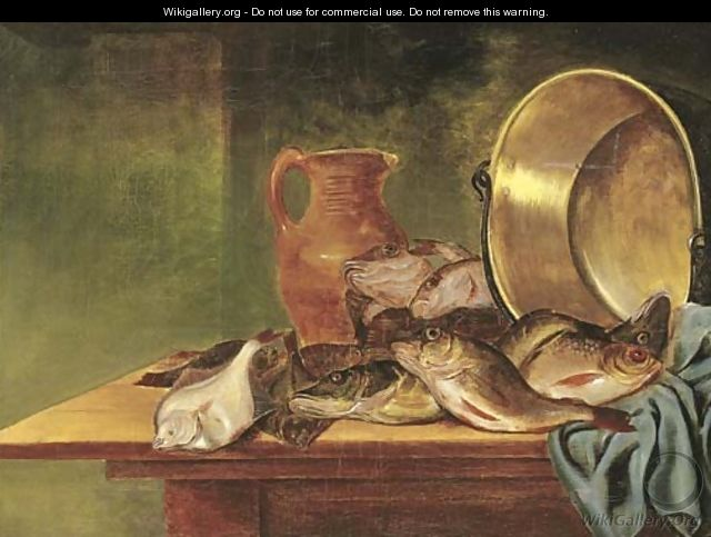 Plaice, red gurnard and other fish in a basket - (after) Pieter Van Schaeyenborgh