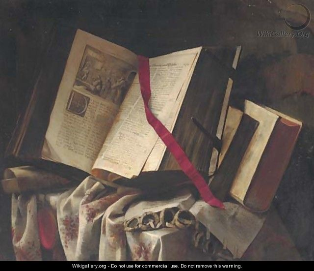 Books on a partly draped table - Pieter Gerritsz. van Roestraten