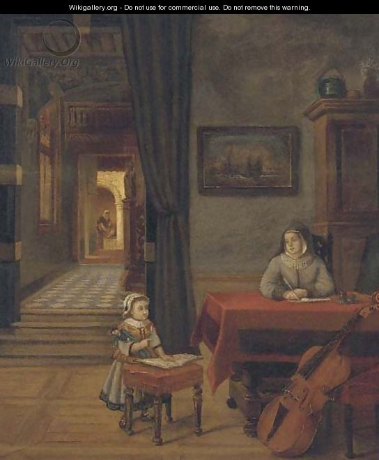 A mother and child in an interior - (after) Pieter De Hooch