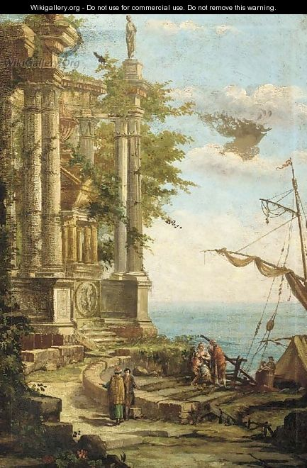 The ruins of a classical mausoleum by a coastal inlet, with figures disembarking from a boat - Pierre-Antoine Patel