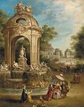 Elegant company by a baroque fountain in an Italianate garden, an ornamental lake beyond - Pierre-Antoine Patel