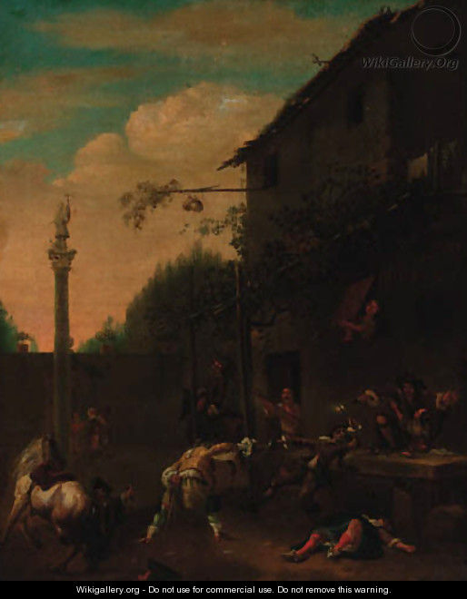 A street fight outide a tavern - (after) Philips Wouwerman