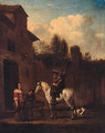 A Horseman taking refreshment in a Courtyard - (after) Philips Wouwerman