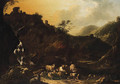 Italianate Landscapes with Drovers, Cattle and Sheep - (after) Philipp Peter Roos