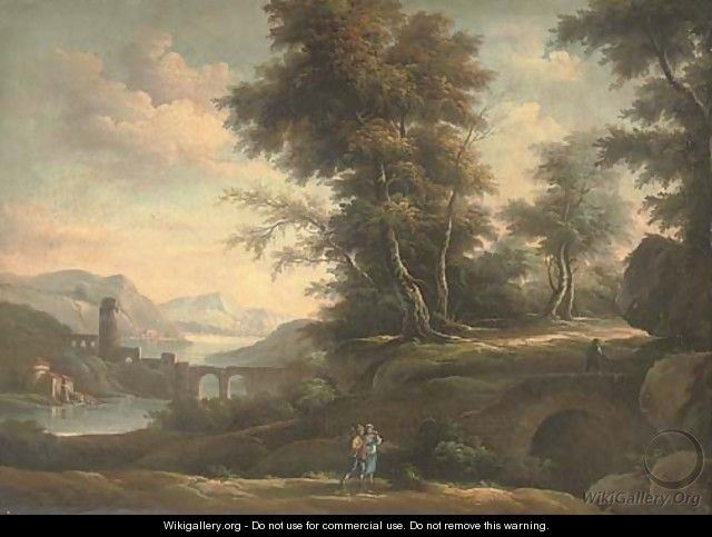 A wooded river landscape with an amorous couple on a track, classical buildings beyond - (after) Peter Tillemans