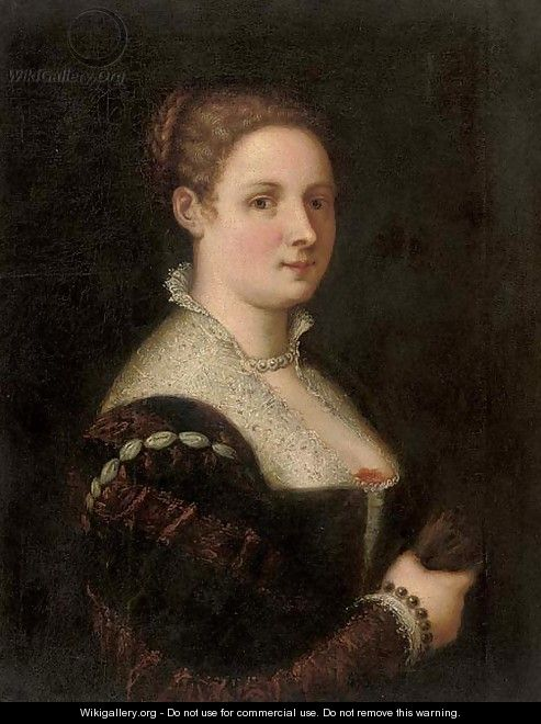 Portrait of a lady, half-length, in a red and black brocade dress with a white lace collar - Paolo Veronese (Caliari)