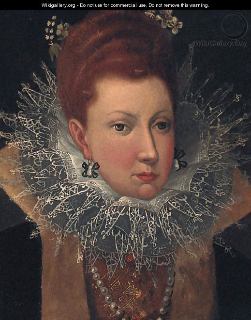 Portrait of a Lady, head and shoulders, wearing a lace ruff with flowers in her hair - (after) Robert Peake