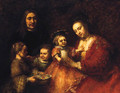 Group Portrait Of A Husband And Wife With Three Children - Rembrandt Van Rijn