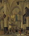 A view in a Gothic Church with elegant townsfolk - (after) Hendrick Van Vliet