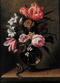 Tulips, roses, carnations and other flowers in a glass vase - (after) Hans Bolongier