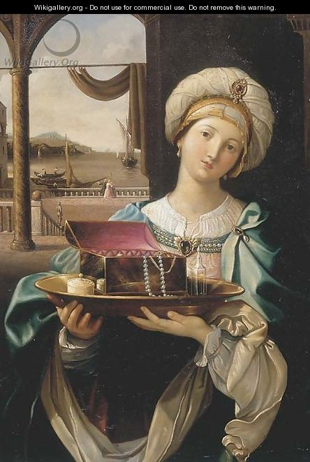 A lady holding a silver plate with a jewellery box, a harbour in the distance - (after) Guido Reni