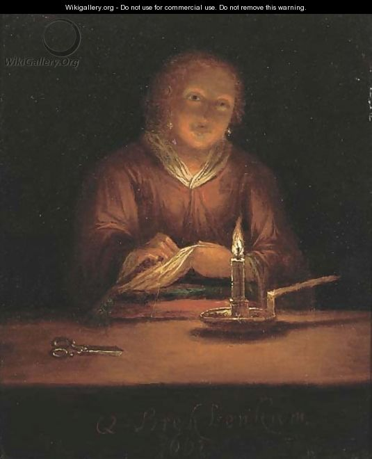 A lady sewing by candlelight 2 - (after) Godfried Schalcken