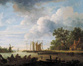 A river landscape on a cloudy day with fishermen with lobsterpots in rowing boats - (after) Jan Van Goyen