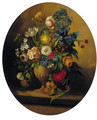 Summer flowers in an urn on a ledge; and Summer flowers in a glass vase on a ledge - (after) Jan Frans Van Dael