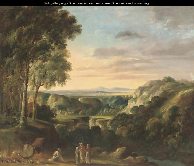 Travellers resting beside a gorge - (after) Jan Frans Van Orizzonte (see Bloemen)