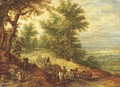 A wooded landscape with travellers on a path 2 - Jan The Elder Brueghel