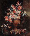 Flowers in a gilt urn with a songbird and fruit strewn on the ground in a landscape - Jan-baptist Bosschaert