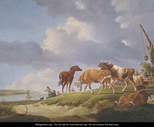 A river bank with herdsmen resting and tending their cattle - (after) Jacob Van Strij