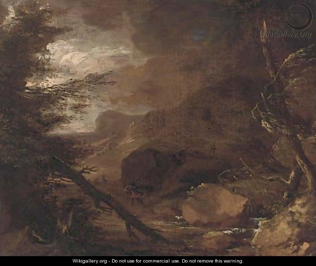 Figures struggling against a storm in a wooded landscape - Jacob Salomonsz. Ruysdael