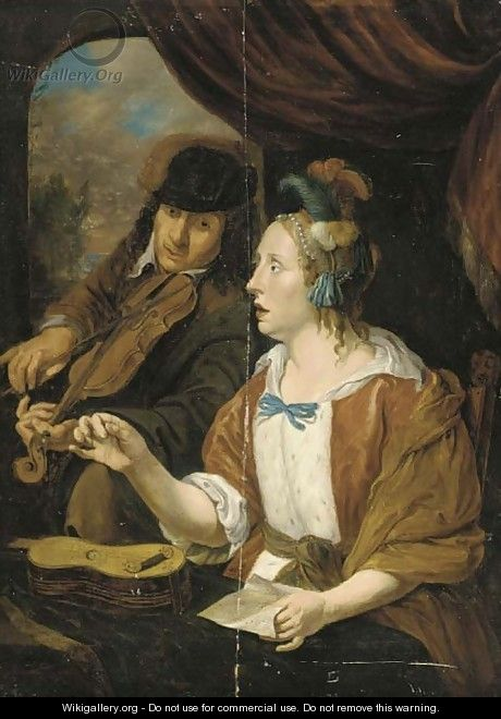 An elegant couple making music in an interior - (after) Jacob Toorenvliet