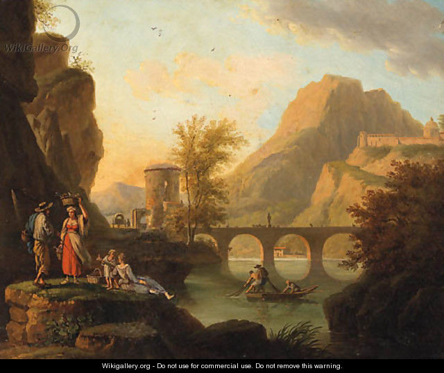 A mountainoius River Landscape with Fisherfolk conversing on a Bank, a Bridge beyond - (after) Jacob Philipp Hackert