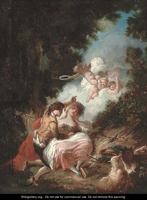 The crowning of love - Jean-Honore Fragonard