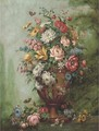 Roses, carnations, poppies, morning glory, chrysanthemums and other flowers in a sculpted urn on a stone ledge - (after) Jan Van Os