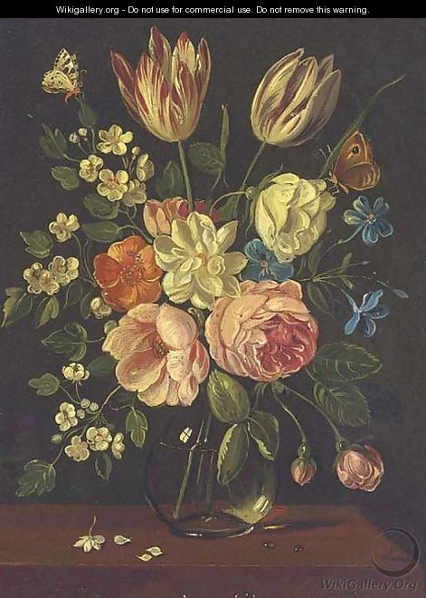 A parrot tulip, roses and other mixed flowers in a glass vase on a ledge with a butterfly - Jan van Kessel