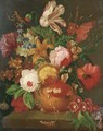 A parrot tulip, roses, narcissi and other flowers in a vase on a stone ledge - (after) Huysum, Jan van