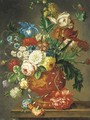 Roses, tulips, carnations, morning glory, daffodils and other flowers in a vase on a ledge - (after) Huysum, Jan van