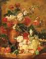 Roses, Carnations and other Flowers in a sculpted terracotta Vase with a Pomegranate, Peaches, Plums, Grapes, a Walnut, Hazelnuts and Currants - (after) Huysum, Jan van