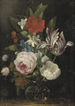 Roses, a tulip and other flowers in a glass vase - Jan van den Hecke