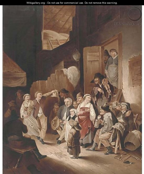Peasants drinking and merry making in an interior - (after) Jan Steen