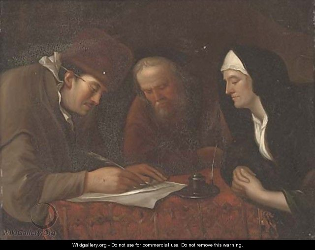 A widow and two gentleman in an interior writing a letter - (after) Jan Steen