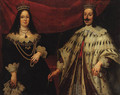 Portrait of Ferdinand II Grand Duke of Tuscany (1610-1670) and Victoria della Rovere (1622-1694), three-quarter-length, in ceremonial robes - (after) Justus Sustermans