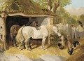 Horses and chickens in a farmyard - (after) John Frederick Jnr Herring