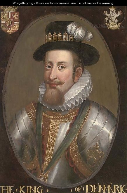 Portrait of a nobleman, bust-length, in armour and white ruff, with a jewelled hat - (after) John De Critz