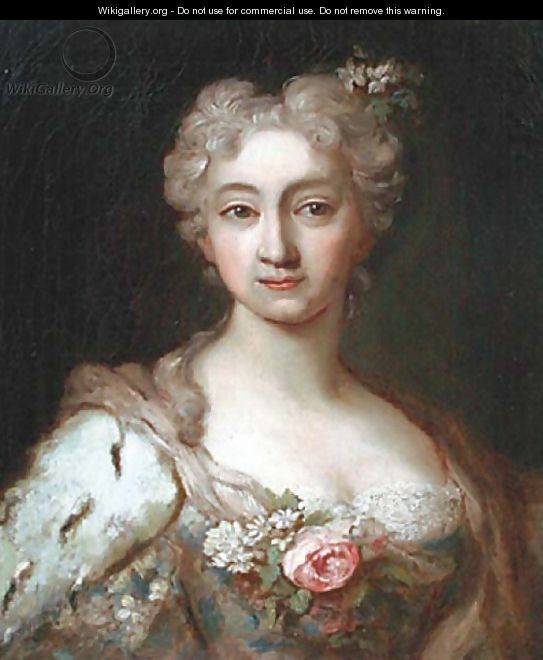 Portrait of an elegant lady, bust-length, in a dress set with lace and flowers with an ermine wrap and flowers in her hair - (after) Jean-Marc Nattier