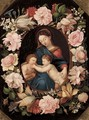 The Madonna and Child with the Infant Saint John the Baptist in a floral cartouche - (after) Erasmus II Quellin (Quellinus)